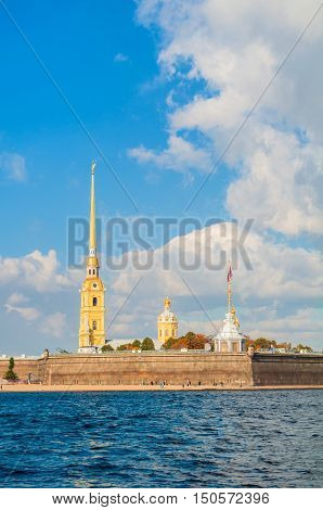 Architecture landscape of St Petersburg Russia - architecture ensemble of Peter and Paul fortress and Neva river in sunny autumn day. Autumn architecture view of St Petersburg landmark