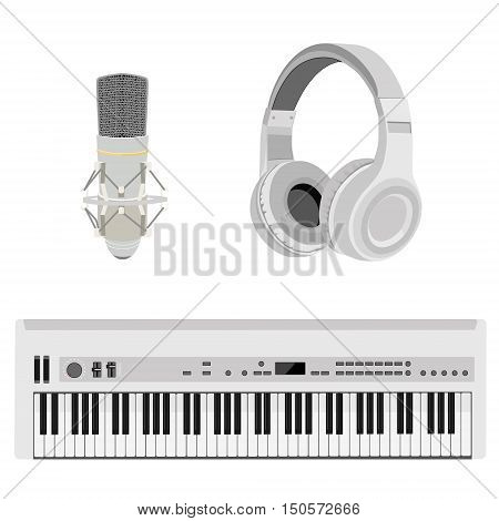Vector illustration realistic white headphones synthesizer and vintage microphone. Retro microphone isolated on white. Microphone and stereo headphones icon