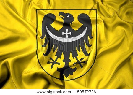 Waving Flag Of Lower Silesian Voivodeship With Coat Of Arms, Pol
