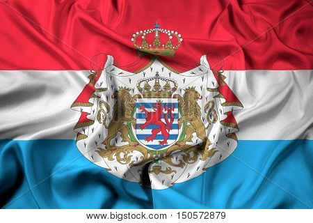 Waving Flag Of Luxembourg With Coat Of Arms
