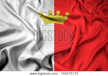 Waving Flag Of Mdina With Coat Of Arms, Malta