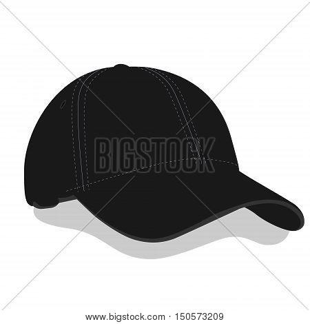 Vector illustration black baseball cap or hat with shadow. Baseball cap icon