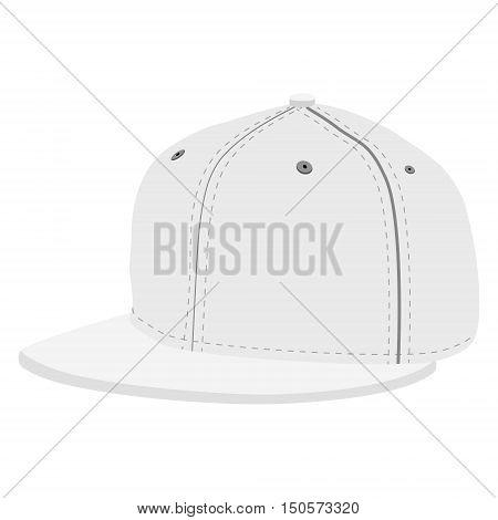 Vector illustration white hip hop or rapper baseball cap. Baseball cap icon