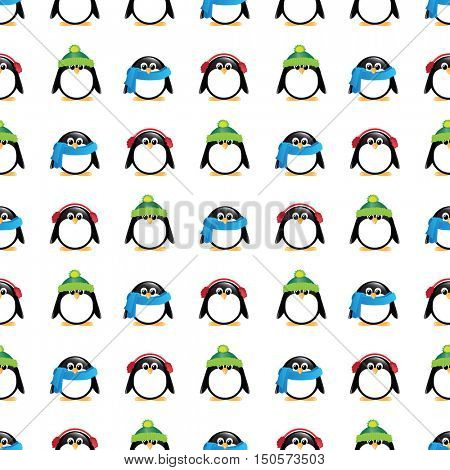 A seamless background of cute cartoon penguins, wearing winter hats, scarves and earmuffs, on colourful checkered background.  EPS10 vector format