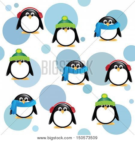 A seamless background of cute cartoon penguins, wearing winter hats, scarves and earmuffs, on blue spotted background.  EPS10 vector format