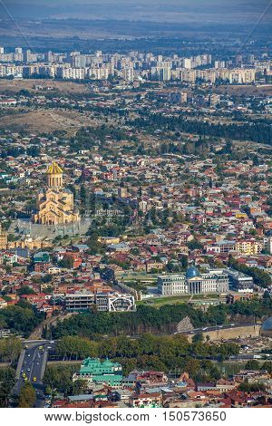 Top View Of Sameba Or Holy Trinity Cathedral Of Tbilisi, The Main Georgian Orthodox Church Erected O