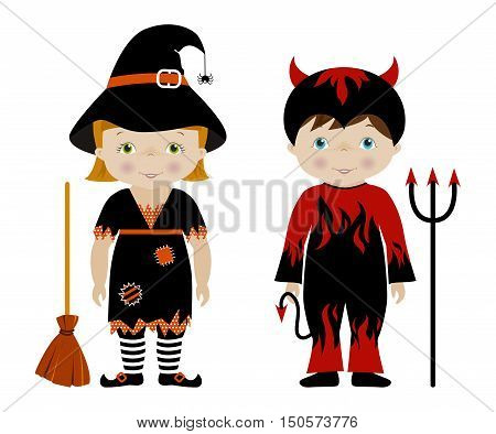 Kids dressed for Halloween or carnival, Cute boy and girl in witch and devil costumes, cartoon vector.