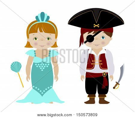 Kids dressed for Halloween or carnival, Cute boy and girl in mermaid and pirate costumes, cartoon vector.