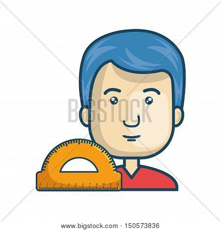 avatar man cartoon with protractor ruler icon. colorful design. vector illustration