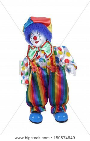 doll clown in trousers isolated on white background