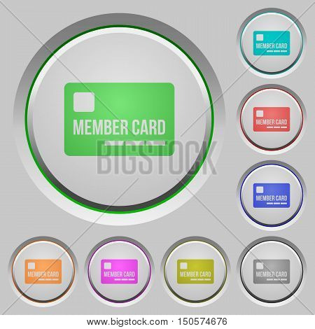 Set of color member card sunk push buttons.