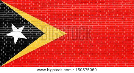 East Timorese national official flag. Patriotic symbol banner element background. Accurate dimensions. Correct size colors. Flag of East Timor on brick wall texture background, 3d illustration