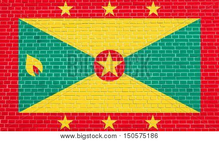 Grenadian national official flag. Patriotic symbol banner element background. Accurate dimensions. Correct size colors. Flag of Grenada on brick wall texture background, 3d illustration