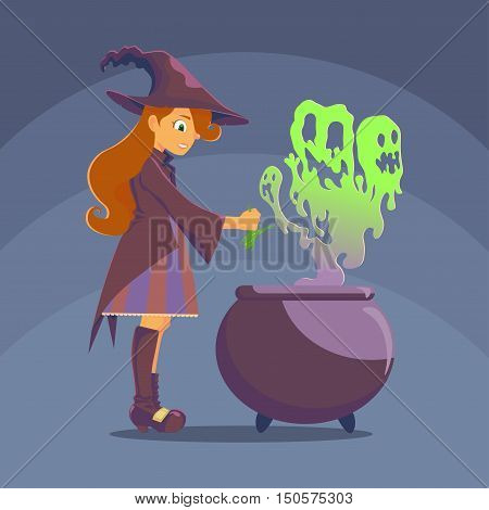 Witch with a big hat preparing a potion in the pot from the boiler breaks green steam vapor similar to the evil ghosts. Witch frog uses as an ingredient of his curse. Halloween