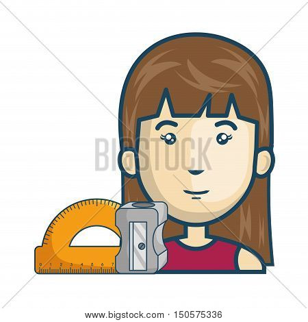 avatar woman cartoon with protractor ruler and sharpener icon. colorful design. vector illustration