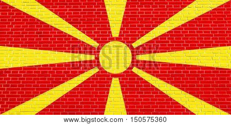 Macedonian national official flag. Patriotic symbol banner element background. Accurate dimensions. Correct size colors. Flag of Macedonia on brick wall texture background, 3d illustration