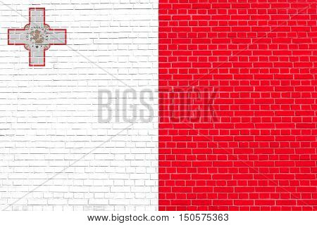 Maltese national official flag. Patriotic symbol banner element background. Accurate dimensions. Correct size colors. Flag of Malta on brick wall texture background, 3d illustration