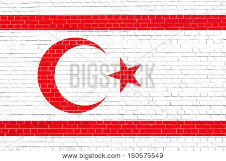 Northern Cyprus national official flag. TRNC patriotic symbol banner element background. Correct size colors. Flag of Turkish Republic of Northern Cyprus on brick wall texture background, 3d illustration