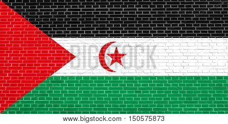 Sahrawi national official flag. Western Sahara patriotic symbol. SADR banner element background. Correct size colors. Flag of Sahrawi Arab Democratic Republic on brick wall texture background, 3d illustration