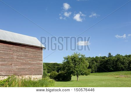 Section of a weathered red barn leading to blue sky crops green trees and copy space. Rural background scene.