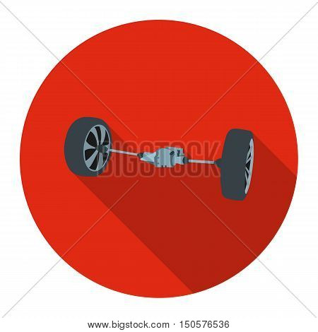 Front car suspension icon flat style. Single silhouette auto parts icon from the big car flat - stock rastr