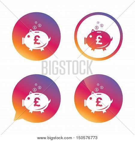 Piggy bank sign icon. Moneybox pound symbol. Gradient buttons with flat icon. Speech bubble sign. Vector
