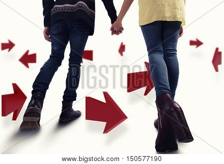 3D Rendering of couple walk between arrows