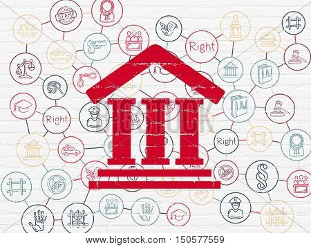 Law concept: Painted red Courthouse icon on White Brick wall background with Scheme Of Hand Drawn Law Icons
