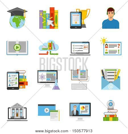 Online education e-learning it electronic technology flat icons collection with internationally recognized diploma isolated vector illustration