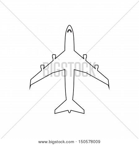 Airplanes top flat black linear icon on white background. Graphic illustration