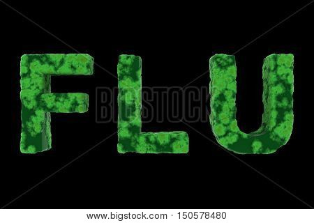 Green Virus Coated Flu Text Isolated On Black Background 3D Illustration