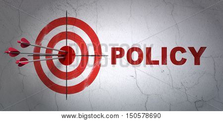 Success Insurance concept: arrows hitting the center of target, Red Policy on wall background, 3D rendering