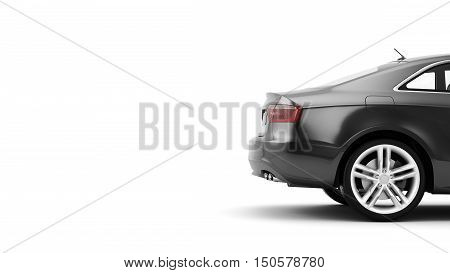New CG 3d render of generic luxury detail sports car driving illustration isolated on a white background. Mockup with stylized noise effects