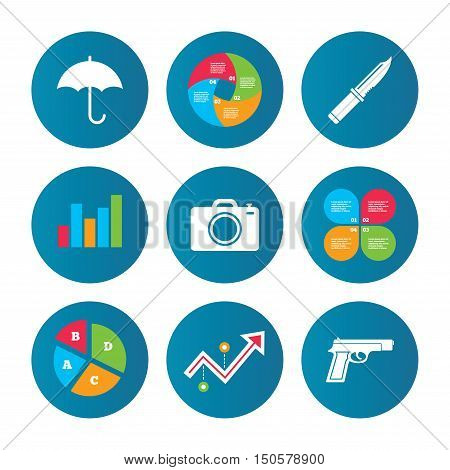 Business pie chart. Growth curve. Presentation buttons. Gun weapon icon.Knife, umbrella and photo camera signs. Edged hunting equipment. Prohibition objects. Data analysis. Vector