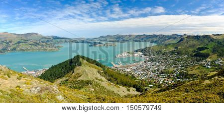 Lyttelton Governors Bay Diamond Harbour and the Port Hills.  Lyttelton Harbour / Whakaraupo New Zealand