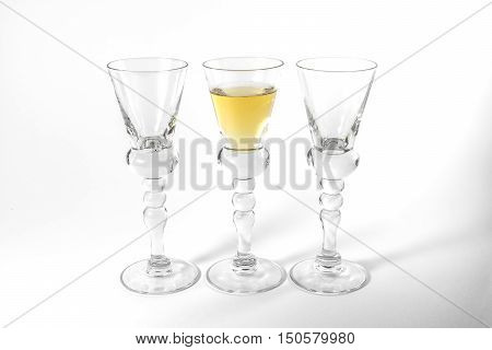 Single Shot Glass Wine Style Isolated White Background Triple Three Together Full Empty Contrast Ele
