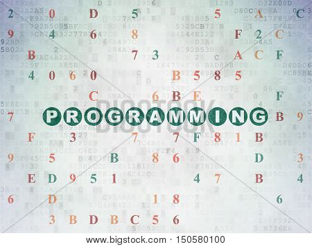 Programming concept: Painted green text Programming on Digital Data Paper background with Hexadecimal Code