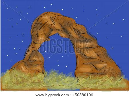 arches national park. abstract illustration of Strange rock formations