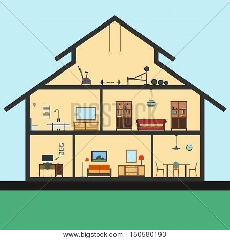 Detailed house in cut. Different modern furniture in interiors. Flat style. Graphic illustration
