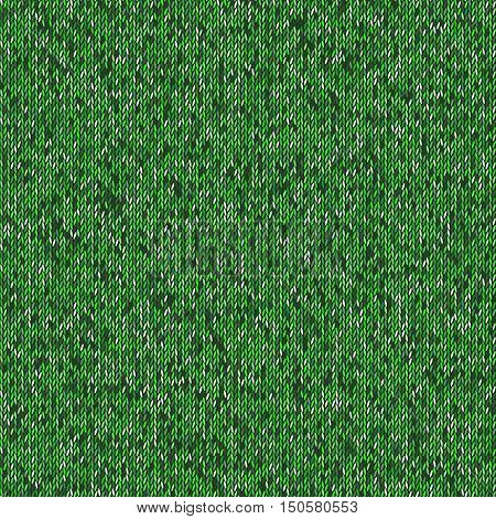 Seamless green knitting pattern. Woolen cloth knitted background. Graphic illustration
