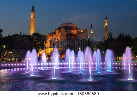 ISTANBUL TURKEY - JUNE 25 2015: Ayasofia was a Greek Orthodox Christian patriarchal basilica (church) later an imperial mosque and now a museum in Istanbul Turkey