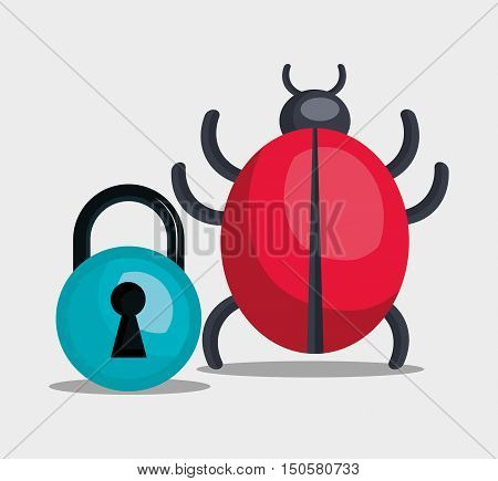 informatic virus and padlock. alert security system design. vector illustration