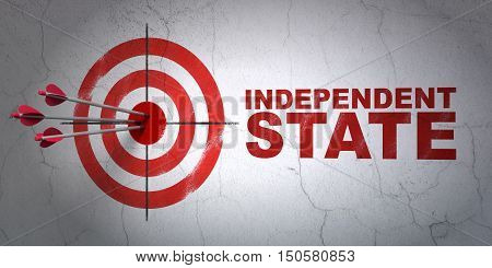 Success politics concept: arrows hitting the center of target, Red Independent State on wall background, 3D rendering