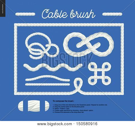 Cable brush - rope detail vector brush with end elements, and few usage examples - knots, loops, frames.