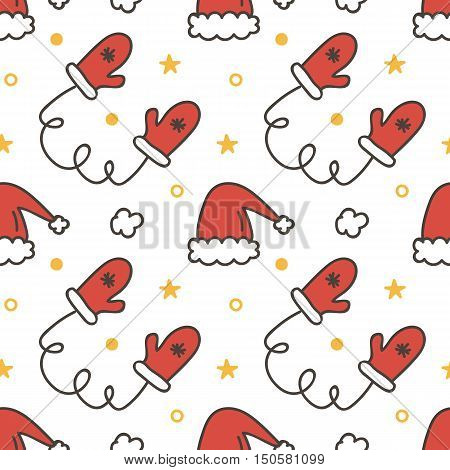 Doodle, hand drawn winter christmas seamless pattern background with mittens and santa hats.