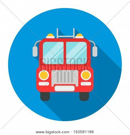 Fire truck icon flat style. Single silhouette fire equipment icon from the big fire Department flat.