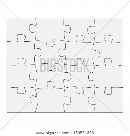 Template paper for thinking puzzles games. Business concept infographics. Puzzle pieces and jigsaw puzzle. Graphic illustration