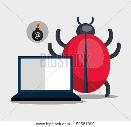 laptop computer and informatic alert virus. vector illustration