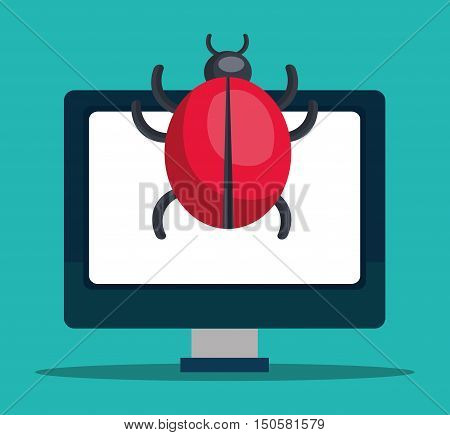 monitor computer with informatic virus. colorful design. vector illustration