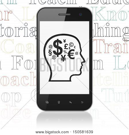 Learning concept: Smartphone with  black Head With Finance Symbol icon on display,  Tag Cloud background, 3D rendering